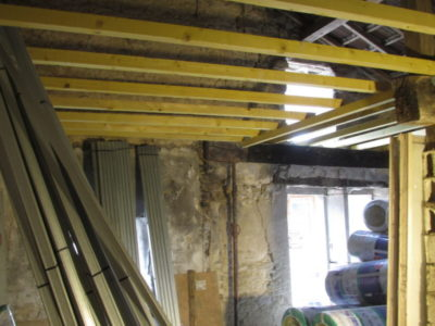 Ceiling joists going in