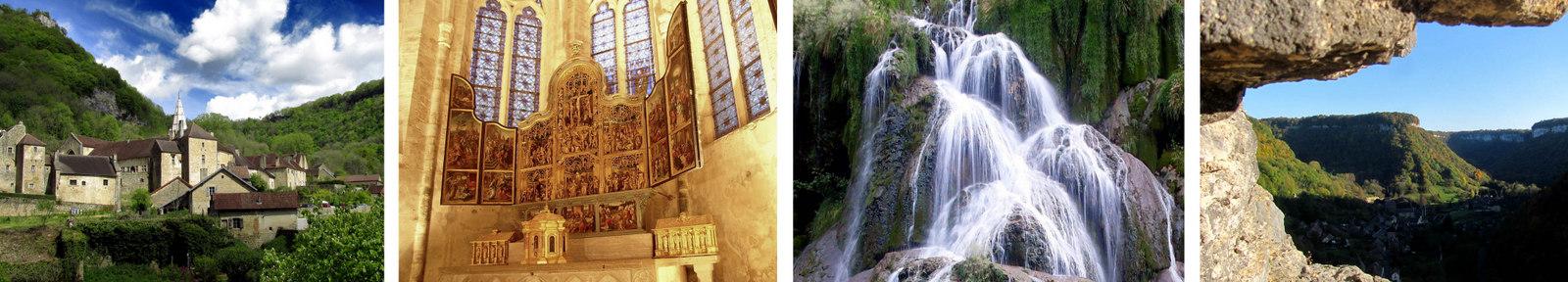 Visite de l'abbaye, des grottes, les cascades, de la reculée